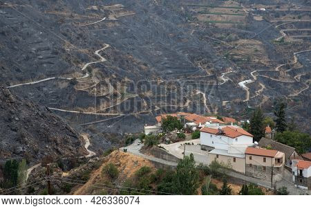 Mountain Fire With Burned Land And Disaster On Agriculture At The Village Of Odou Cyprus. Environmen