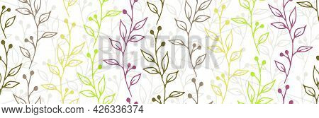 Berry Bush Sprouts Organic Vector Seamless Ornament. Chic Floral Textile Print. Herb Plants Leaves A