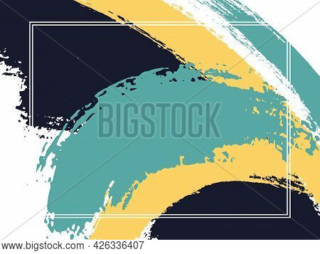 Horizontal Border With Paint Brush Strokes Background. Retro Design Template For Card. Vector Border