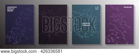 Cyberspace Idea Abstract Vector Covers. Flexible Curve Lines Flow Backdrops. Vibrant Brochure Vector