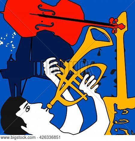 Musical Promotional Poster With Musician Playing Trumpet, Musical Instruments Colorful Vector. Violo