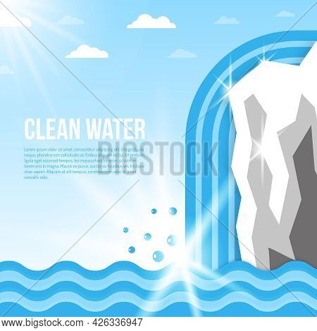 Clean Water Background With Glacier With Waterfall And Ocean Waves Flat Vector Illustration