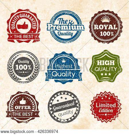 Vintage Highest Guaranteed Quality Best Offer And Limited Edition Round Color Stamps Isolated Vector