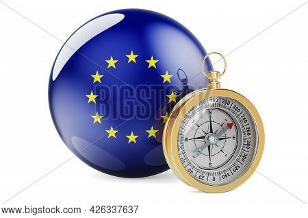 Compass With The Eu Flag. Travel And Tourism In The European Union Concept. 3d Rendering Isolated On