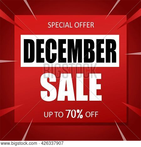 December Sale Banner Special Seasonal Offer Advertising Up To 70 Percent Off Discount Template Desig