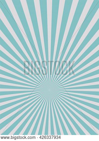 Sunlight Rays Shine Vertical Background. Powder Blue And Grey Color Burst Background. Vector Sky Ill