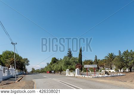 Matjiesfontein, South Africa - April 20, 2021: Name Board At The Entrance To Matjiesfontein In The W