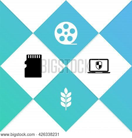 Set Micro Sd Memory Card, Wheat, Film Reel And Laptop With Shield Icon. Vector