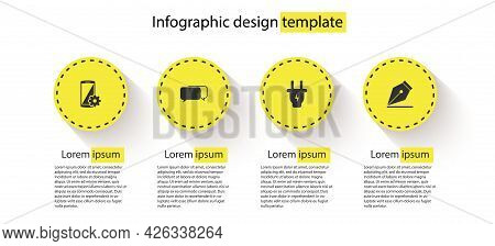 Set Setting On Smartphone, Chat, Electric Plug And Fountain Pen Nib. Business Infographic Template.