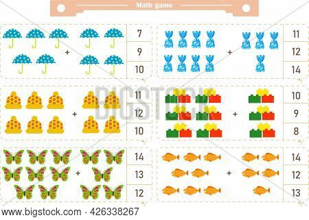 Math Game For Children. Addition. The Score Is 1-20. Find The Correct Answer