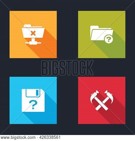 Set Ftp Cancel Operation, Unknown Directory, Document And Two Crossed Hammers Icon. Vector