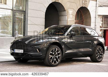 Kiev, Ukraine - May 22, 2021: Aston Martin Dbx Gray Luxury Super Suv. Luxury British Suv In The City