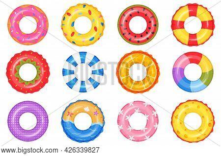 Inflatable Ring. Swimming Pool Circle Toys. Donut, Rainbow, Watermelon, Beach Life Buoy. Summer Floa