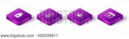 Set Isometric Medical Bottle With Marijuana, Online Buying, Marijuana Or Cannabis Leaf And Calendar