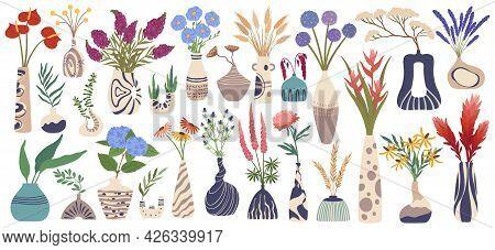 Vase With Flowers. Various Plants In Ceramic Vases. Tropical Blooming Flower, Leaves. Modern Pottery