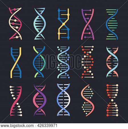 Dna Helix Icons. Gene Spiral Molecule Structure, Human Genetic Code, Chromosome Chain Logo. Genetics