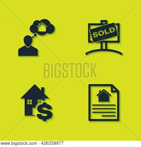 Set Man Dreaming About Buying House, House Contract, With Dollar And Hanging Sign Sold Icon. Vector