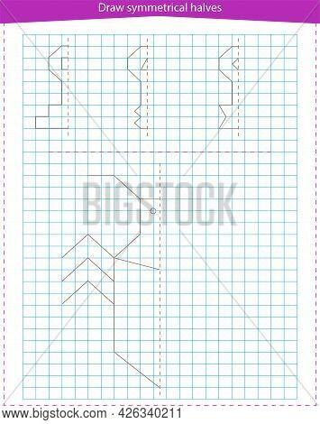 A Game For Children. Draw Symmetrical Halves