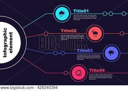 Set Cloudy With Rain And Sun, Snow, Rain, Moon, Storm And Wind. Business Infographic Template. Vecto