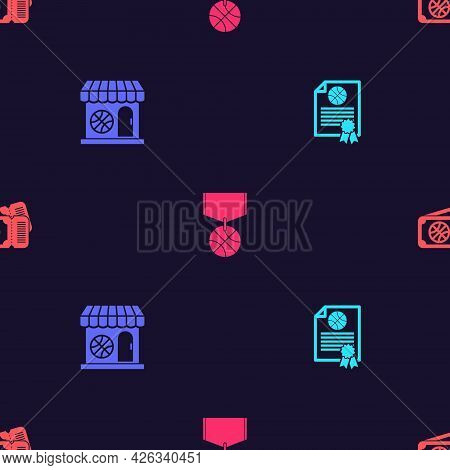 Set Certificate Basketball Award, Sports Shop And, Basketball Medal And Game Ticket On Seamless Patt