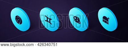 Set Isometric Astronomical Observatory, Asteroid, Gemini Zodiac And Eclipse Of The Sun Icon. Vector