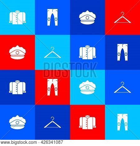 Set T-shirt, Pants, Police Cap With Cockade And Hanger Wardrobe Icon. Vector