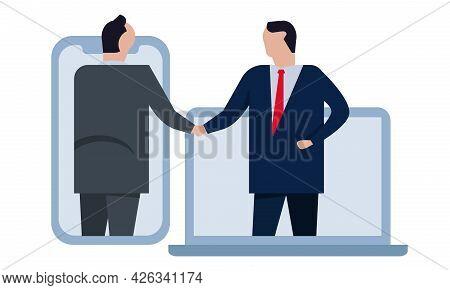 Mutual Assistance Agreement Deal Via Online Communication Gadget Smartphone Laptop Two Businessman H