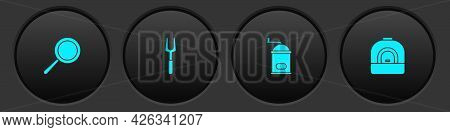 Set Frying Pan, Barbecue Fork, Manual Coffee Grinder And Oven Icon. Vector