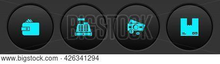 Set Wallet With Paper Money Cash, Cash Register Machine, Stacks And Cardboard Box Traffic Symbol Ico