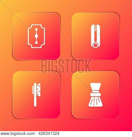 Set Blade Razor, Curling Iron For Hair, Hairbrush And Shaving Icon. Vector