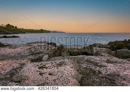 Marine Sunset On The Splendid Sicilian Volcanic Coast