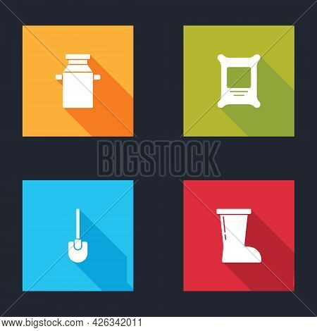 Set Can Container For Milk, Fertilizer Bag, Shovel And Waterproof Rubber Boot Icon. Vector