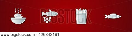 Set Puffer Fish Soup, Fish With Caviar, Fishing Bucket Fishes And Icon. Vector