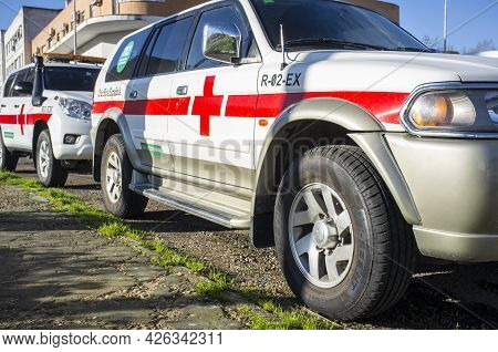 Badajoz, Spain - March 23th, 2018: Red-cross Off Road Vehicles. Extremadura, Spain