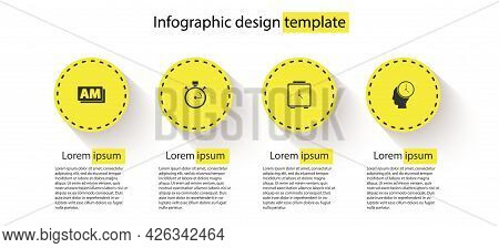 Set Clock Am, Stopwatch, Alarm Clock And Time Management. Business Infographic Template. Vector
