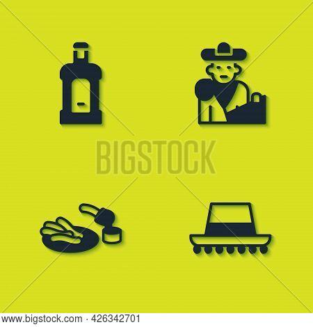 Set Orujo, Spanish Hat, Churros And Chocolate And Bullfight, Matador Icon. Vector