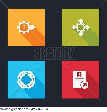 Set Gear With Dollar, Project Team Base, Business Lifebuoy And Job Promotion Icon. Vector
