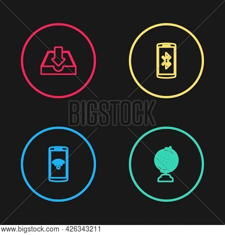 Set Line Smartphone With Wireless, Earth Globe, Bluetooth And Download Inbox Icon. Vector