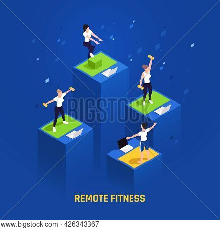 Remote Fitness Group Exercise Isomeric Composition With Class Members And Trainer On Laptop Screens