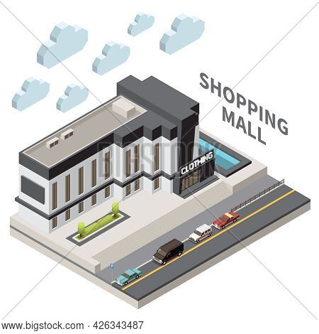 Shopping Mall Composition With Local Store Symbols Isometric Vector Illustration