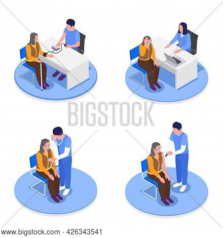 Isometric Set Of Grandmothers In Doctors Offices Receiving Health Advice Vector Illustration