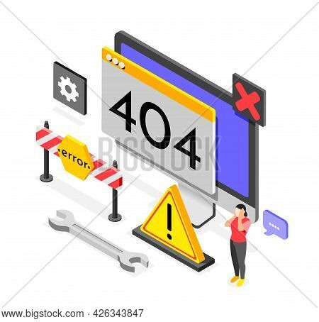 Error Colored Isometric Composition Signs Tools And Materials For Solving Problems And Errors On The