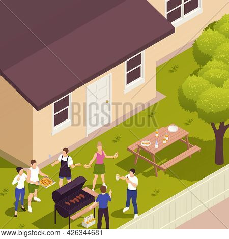 Summer Front Yard Lawn Family Picnic Isometric View With Barbecue Meat Grilling Guests Bringing Pizz