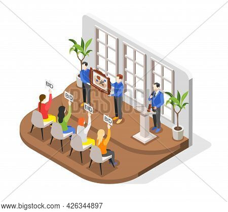 Auction Isometric Composition With Indoor Scenery And Bidders Looking At Expensive Painting Held By