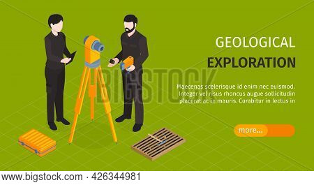 Isometric Geological Horizontal Green Banner With Geological Exploration Headline And More Button Ve