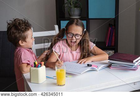 Angry Caucasian Girl With Eyeglasses Make Homework. Brother Disturb.