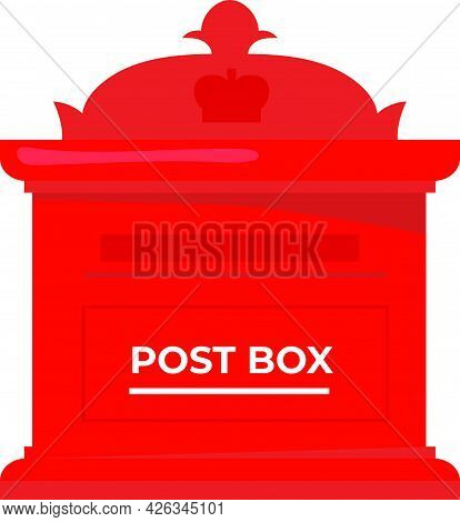 Traditional Old Post Box Vector Design, Vintage Red Mail Post Box Illustration,