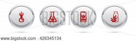 Set Line Test Tube With Marijuana, , Online Buying And Marijuana Or Cannabis Leaf Oil. Silver Circle