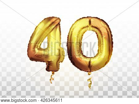 40 Golden Number Forty Metallic Balloon. Party Decoration Golden Balloons. Anniversary Sign For Happ