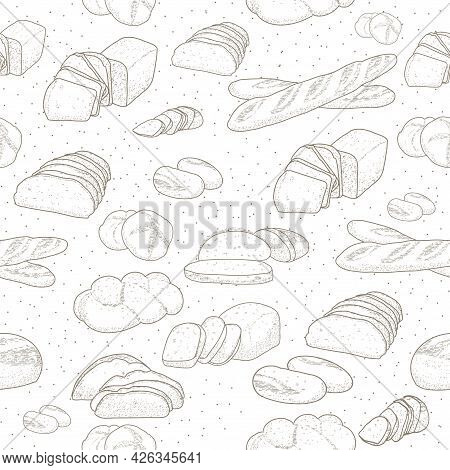 Hand Drawn Sketch With Bread, Pastry, Sweet. Bakery Set In Engraved Style. Seamless Pattern Bread Se
